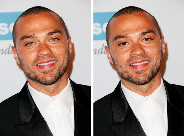 comparación de ojos de color en Jesse Williams
