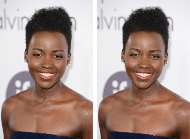 comparación de ojos de color en Lupita Nyong'o