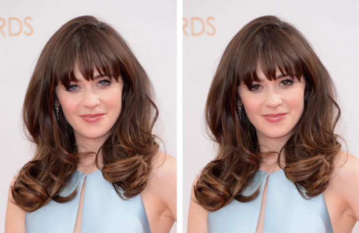 comparación de ojos de color en Zooey Deschanel