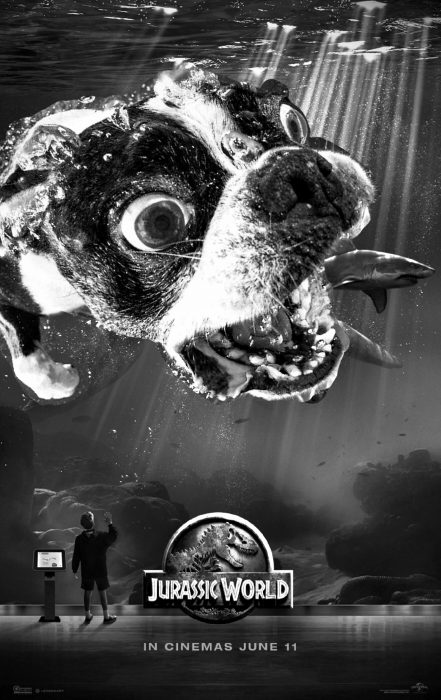 Photoshop imagen de un perro con el titulo de Jurassic World
