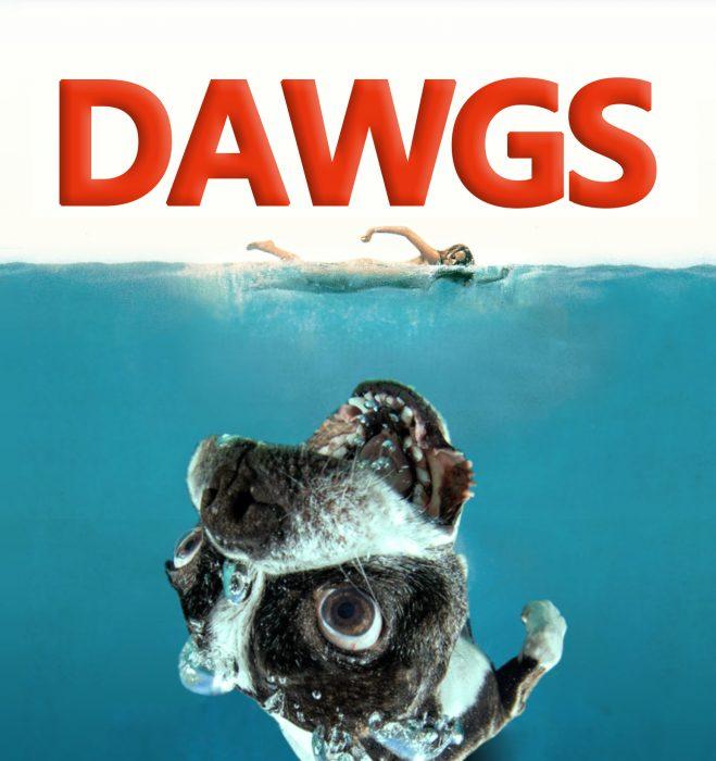 Photoshop en lugar de Jaws la foto de un perro y dice Dawgs