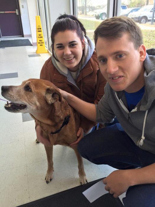 Pareja adopta a perro de 17 años