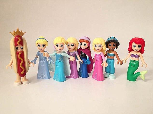 dibujo de legos de princesas y la princesa hot dog