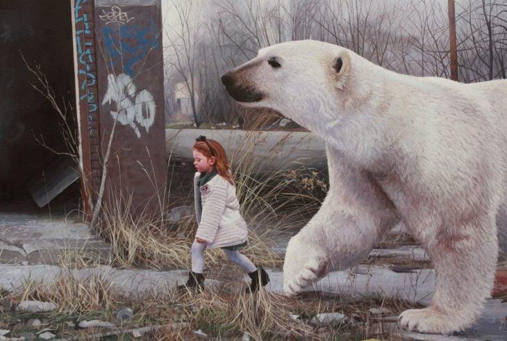 pintura niña y oso