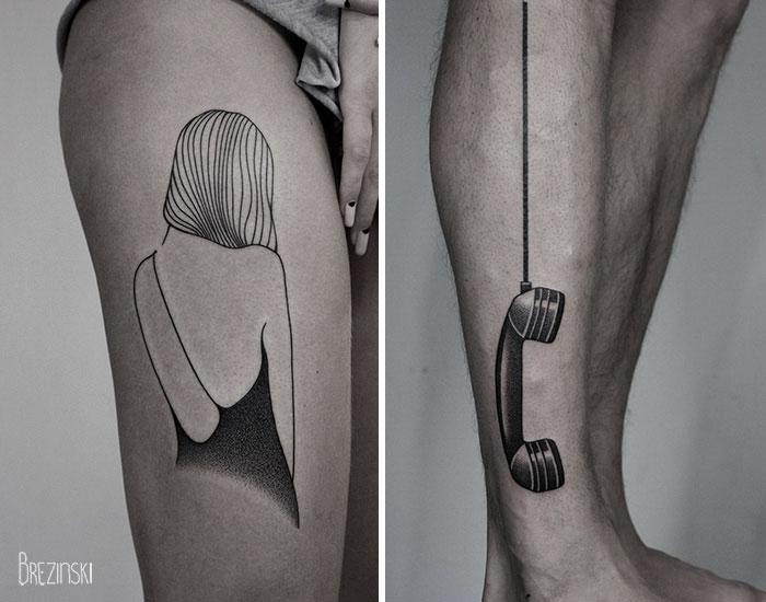 tatuajes a una tinta en pierna