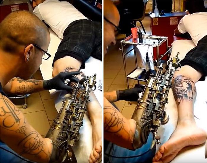 Tatuaje hecho con prótesis