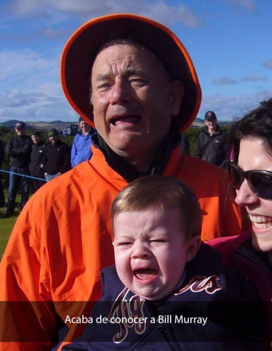 niño llorando junto a Bill Murray