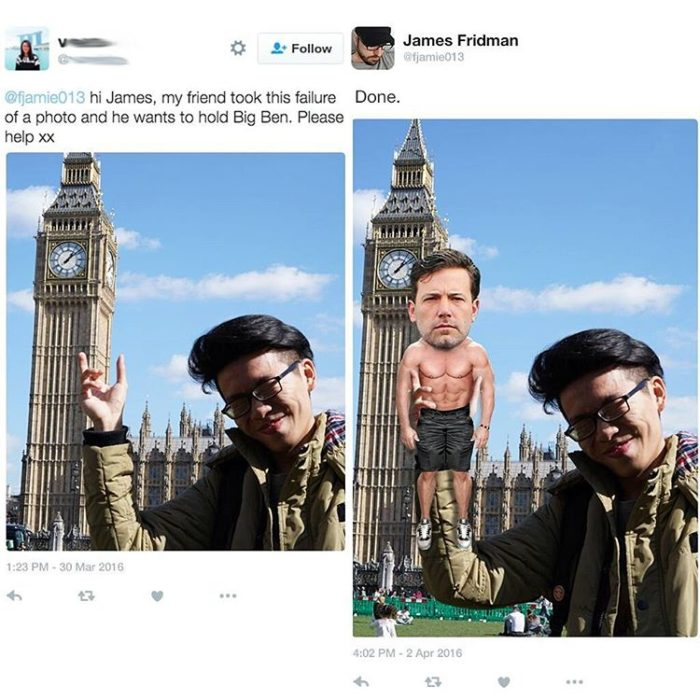 Fotografía manipulada con photoshop, antes y después. Jóven en el Big Ben