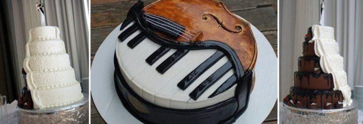 pastel de boda mitad piano