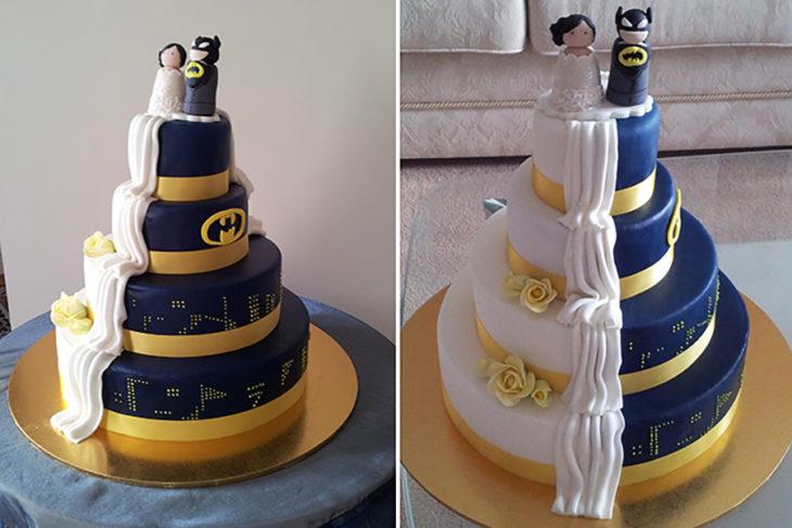 pastel mitad boda mitad batman