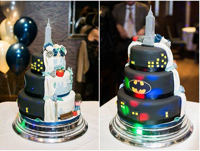 pastel boda mitad pastel ciudad gótica