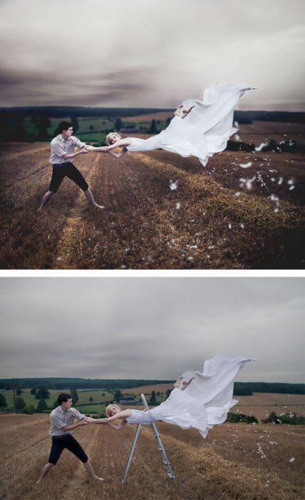 detrás de cámaras, novia volando