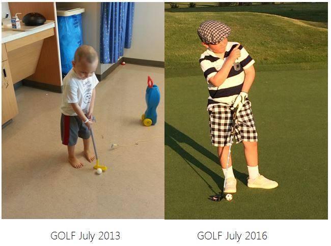 niño jugando golf