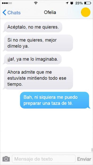mensaje de texto mujer insistente