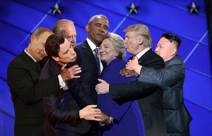 abrazo de hillary editado con putín, y demás políticos