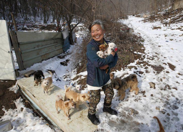 mujer con perros rescatados