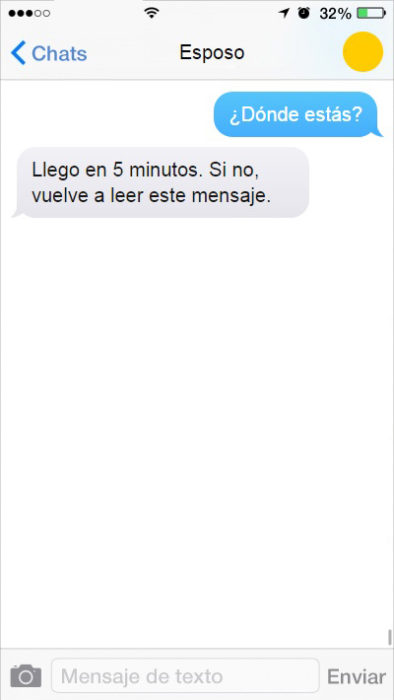 mensjae de texto llego en 5 minutos