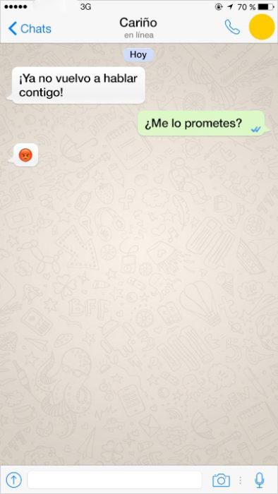 mensaje de texto no volveré a hablarte