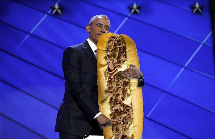 obama abrazando una torta