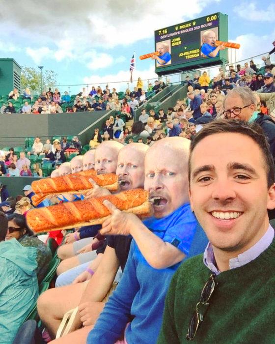 comiendo lonches en el estadio