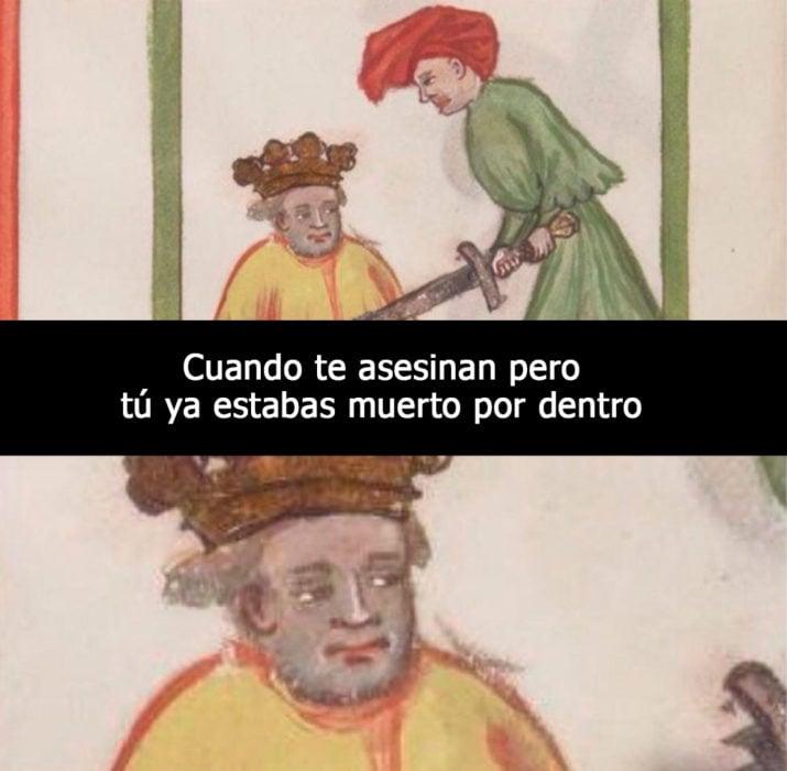 imagen medieval atravesando a un rey con la espada