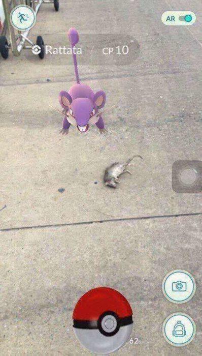 Un pokemón en la calle al lado de una rata
