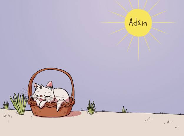dibujo de un gato que duerme bajo el sol