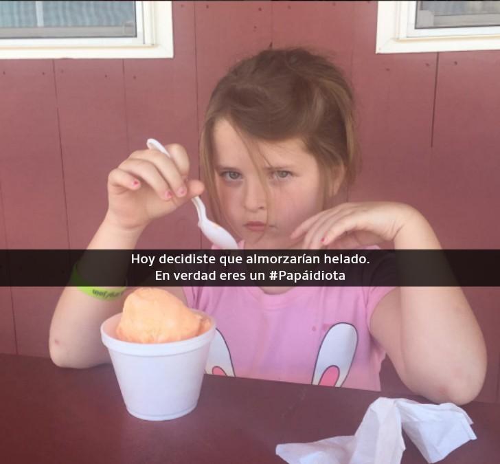 niña enojada comiendo helado
