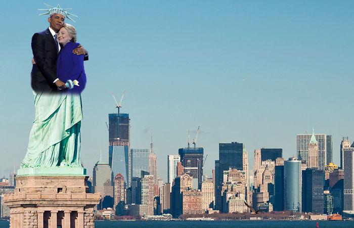 hillary y obama estatua de la libertad