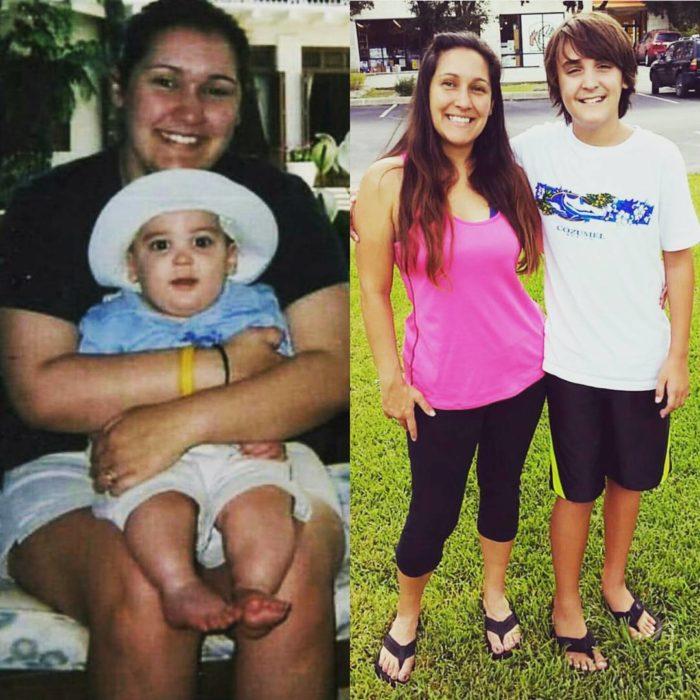 mujer con su hijo antes y después de 12 años