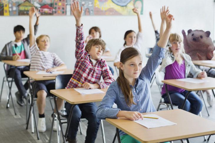niños en clase y erizo levantan la mano