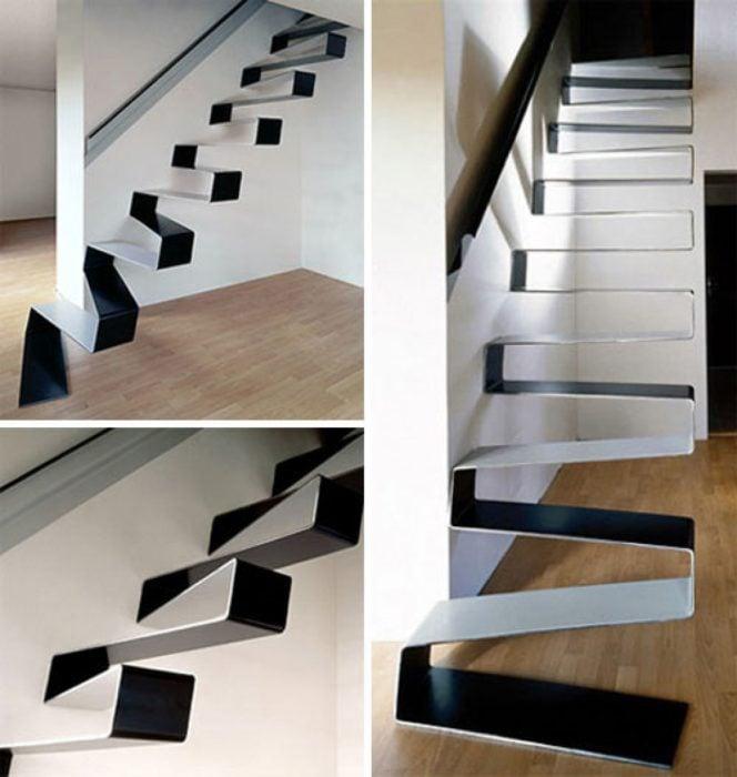 escalera moderna negra