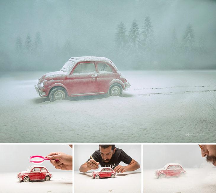 detrás de cámaras fotografía carro miniatura
