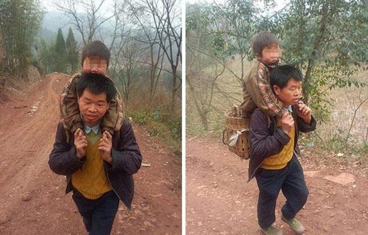 padre lleva a su hijo a la escuela