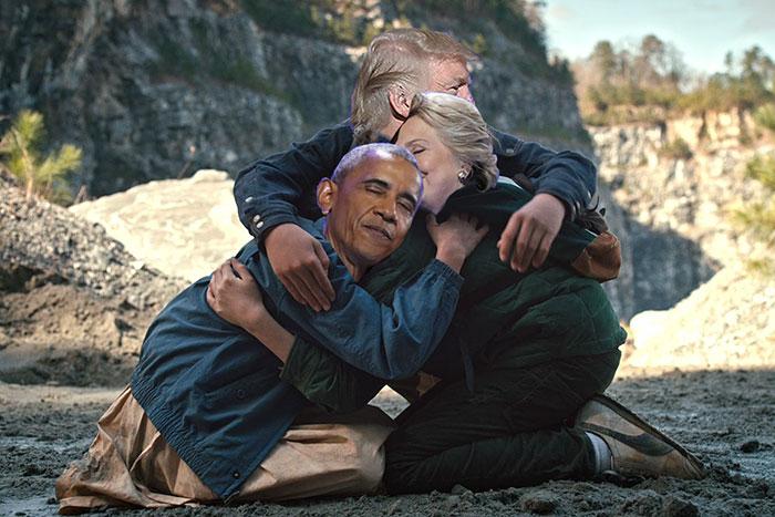 trump, obama y hillary abrazo editado