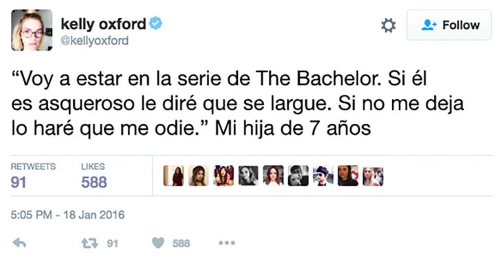 Twitter niña de 7 años sobre bachelor