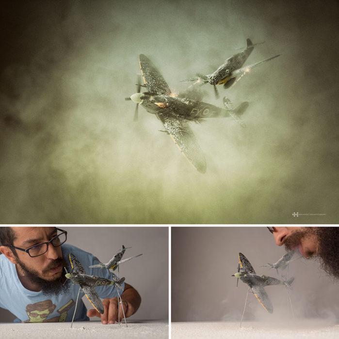 detrás de cámaras fotografía miniatura avionetas