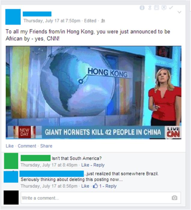 mujer de noticiario con mapa de américa del sur