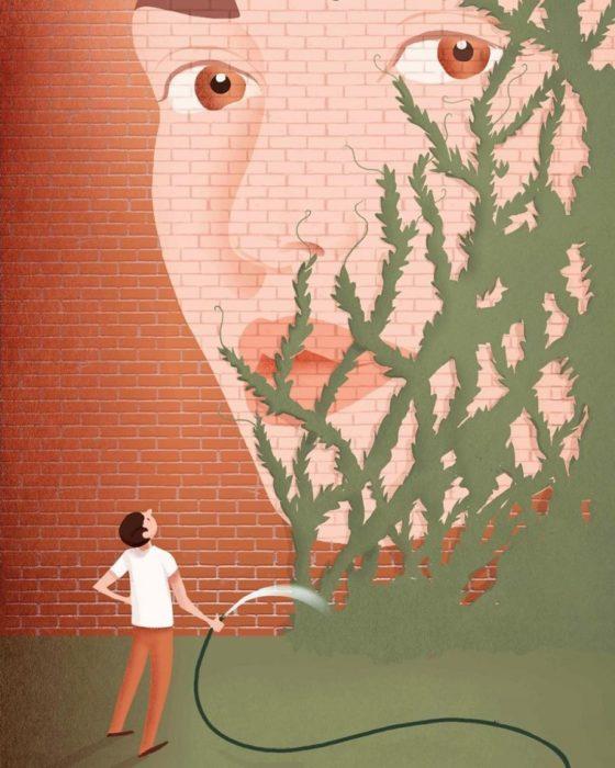 ilustración hombre riega enredaderas que cubren el rostro de una muejr