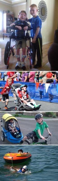 niño ayuda a su hermano parapléjico