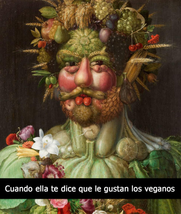 pintura hombre hecho de vegatales