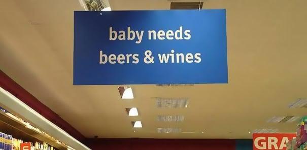 necesidades del bebé, cervezas y vino
