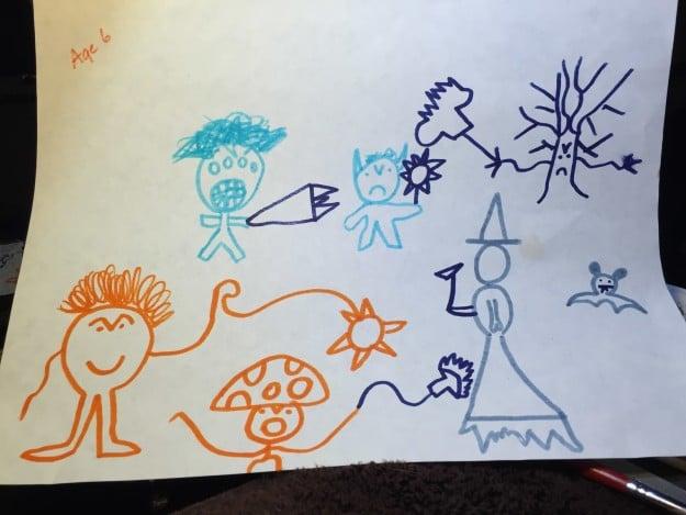 dibujo hecho por niño con personajes con muchas armas