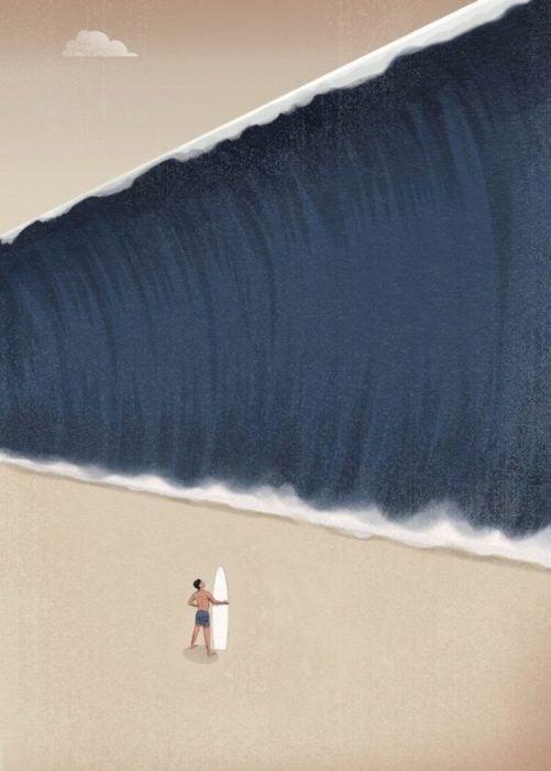 ilustración de un surfista