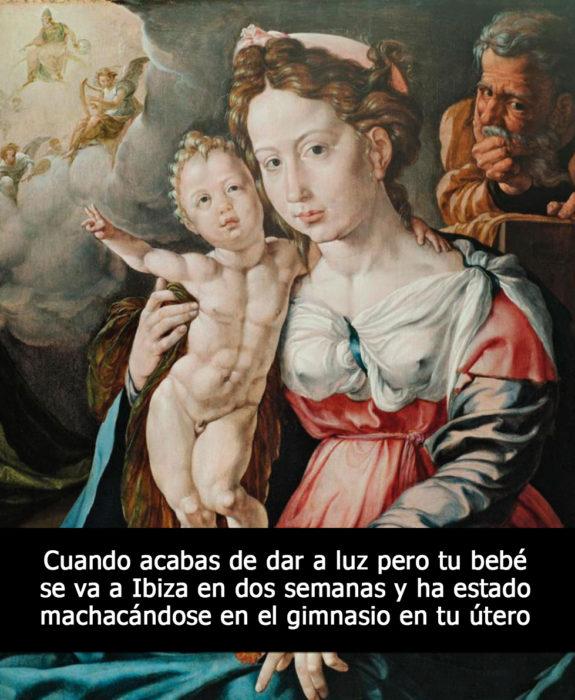 pintura medieval la virgen y el niño