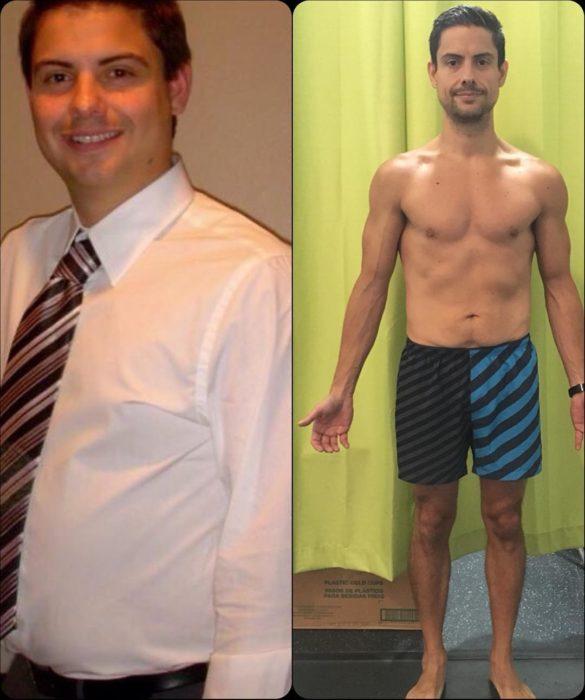 hombre antes y después de perder peso