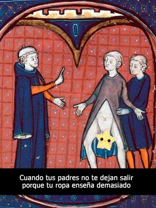 pintura medieval hombre con testículos de fuera
