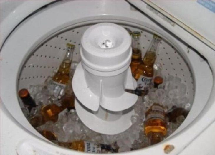 cerveza en una lavadora