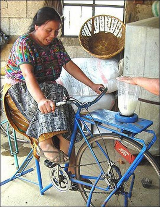bicicleta que es motor de licuadora