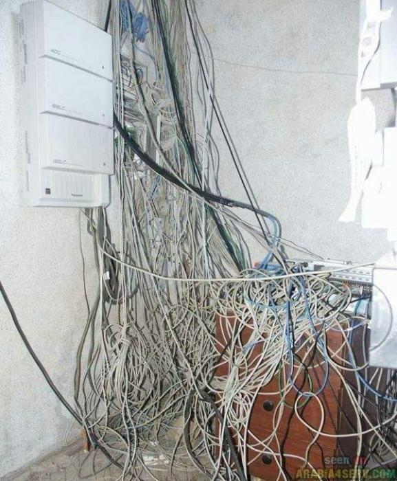 lugar lleno de cables